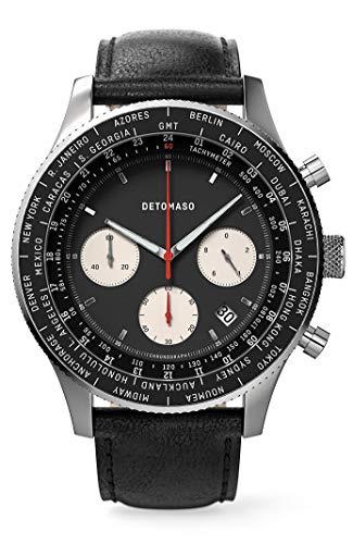 DETOMASO Firenze Chronograph Black Herren-Armbanduhr Analog Quarz Lederarmband Schwarz