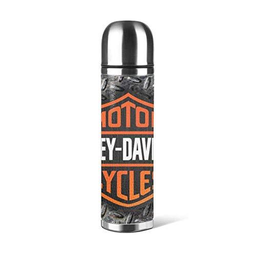 guatan HAR-LEY DAVI-DSON Taza de agua inoxidable aislada al vacío, botella de agua con aislamiento al vacío, taza de deporte, taza de viaje, taza de cuero, capacidad 17 oz/500 ml