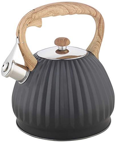 Kinghoff Grau Edelstahl Flötenkessel Teekessel Wasserkessel 2,7L Liter KH-1324