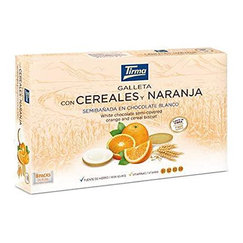 Galletas Cereales y Naranja semibañada en Chocolate Blanco (8 x 25g)