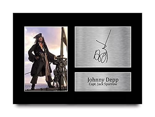 HWC Trading Johnny Depp A4 Ungerahmt Signiert Gedruckt Autogramme Bild Druck-Fotoanzeige Geschenk Für Pirates of The Caribbean Filmfans