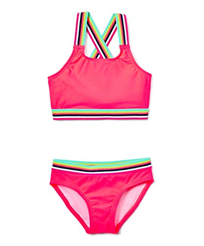 Kanu Surf Girls' Tanya UPF 50+ Beach Sport Athletic Bikini Swimsuit, Bobby Fuschia, 12