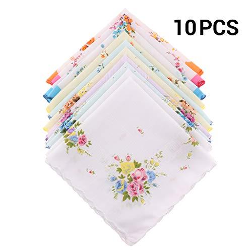 10er Set Damen Taschentücher Blume Stofftaschentücher 100% Baumwolle