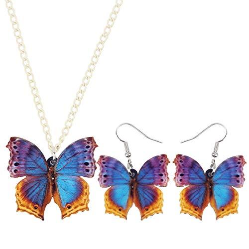 Sistemas de la joyería de acrílico Tropic Floral de la Mariposa Pendientes del Collar de la Manera Pendiente del Insecto por un Adolescente Muchachas de Las Mujeres de Regalos Joyas LIYDEG