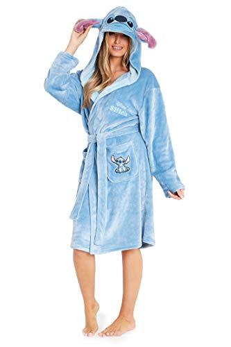 Disney Albornoz Mujer, Bata de Casa Mujer Personaje Stitch, Bata Forro Polar Mujer con Capucha y Cinturon, Regalos Para Mujer y Chica Adolescente Talla S-XL (Azul, S)