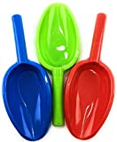 Matty's Toy Stop 14' Kids Long Handle Sand Scoop Plastic Shovels for Sand & Beach (Red, Blue & Green) Complete Gift Set Bundle - 3 Pack