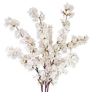 MINYULUA Artificial Cherry Blossom Branches, 39 Inch Faux Cherry Flowers, Silk Tall Fake Flower Vase Arrangements for Home Wedding Decor, Set of 3, White