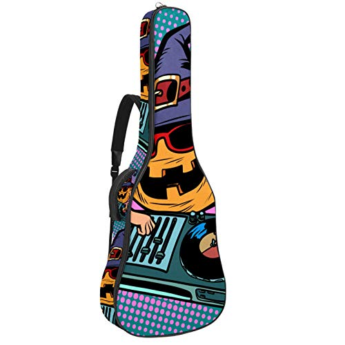 Bolsa de guitarra acústica Sombrero de bruja Calabaza DJ Músico Impresión personalizada Tamaño completo Guitarras caso Gig Bag con asa acolchada correa de hombro