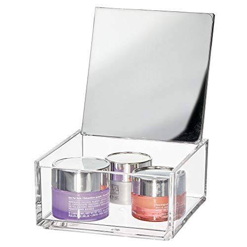 mDesign Kleine Kosmetikbox mit Spiegel – ideale Make-up Aufbewahrung für das Bad oder den...