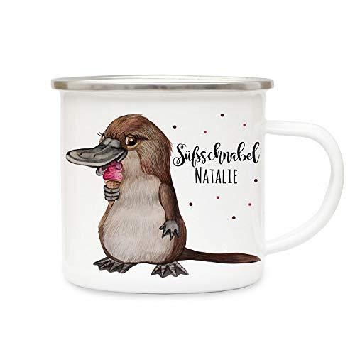 ilka parey wandtattoo-welt Emaillebecher Becher Tasse Camping Schnabeltier mit EIS & Süßschnabel Name Wunschname Kaffeetasse Geschenk eb411