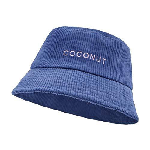 HT LT Caída de Invierno Corduroy Bucket Sombrero Retro Olla Sombrero para Mujeres con Sombrero de Bordado de Moda,Azul