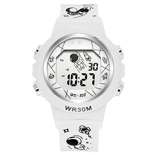 Dingyue Reloj electrónico para niños multifunción minimalista reloj digital astronauta patrón correa casual unisex deportes reloj