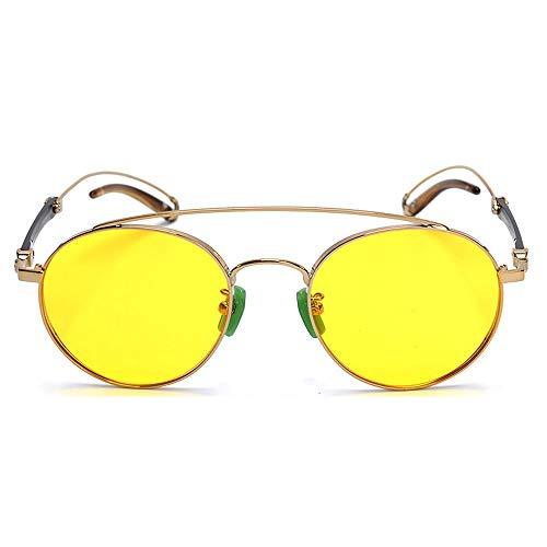 FAGavin Gafas De Película De Color Titanio Puro con Borde Grande Gafas De Sol Polarizadas Protección UV400 (Color : Yellow)