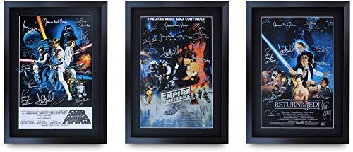 HWCTrading Poster de la collection StarWars signé et encadré au formatA3 avec autographe imprimé, Trilogy original., A3