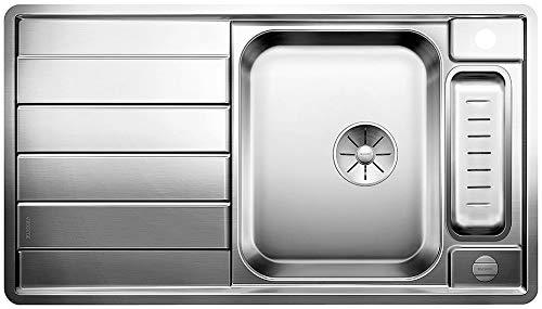 BLANCO Axis III 5 S-IF, Küchenspüle für normalen und flächenbündigen Einbau, Einbauspüle, reversibel, mit InFino-Ablaufsystem und Ablauffernbedienung, Edelstahl Seidenglanz; 522103
