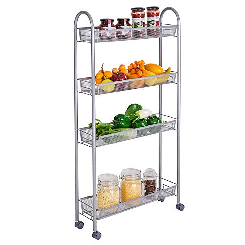 4 Tier Kitchen Storage Shelf Rack, Honeycomb Mesh Style Removable, Heavy Duty Storage Shelving Unit ( Weight Capacity: 132 Lbs / 60 Kg ), Silver Gray (21.65L X 5.91W X 41.34H)