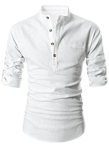 GARSEBO Beloved Men Henley Neck Long Sleeve Daily Look Linen Shirts (2XL, White)