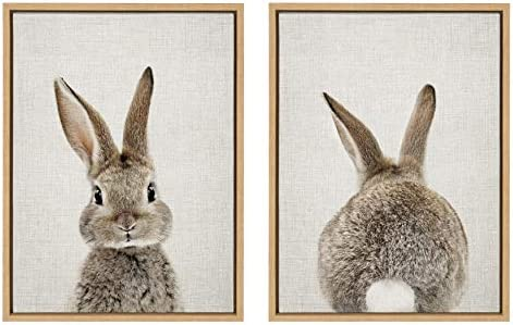 Kate and Laurel Sylvie Bunny Portrait and Bunny Tail Framed Canvas Wall Art by Amy Peterson product image