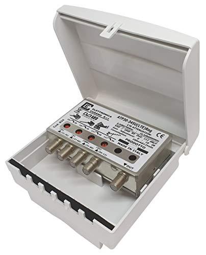 ATP30-345U (LTE) Reg TV-versterker, TV-antenne, met filter/4G, maximaal 30 dB (instelbaar), TV-antenneversterker 4 ingangen: III + IV + V + UHF, versterker, versterker.