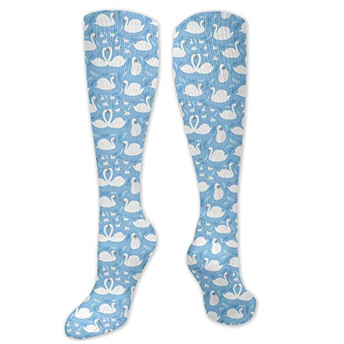 Calcetines de vestir con diseño de pájaros acuáticos blancos y bebés en el lago
