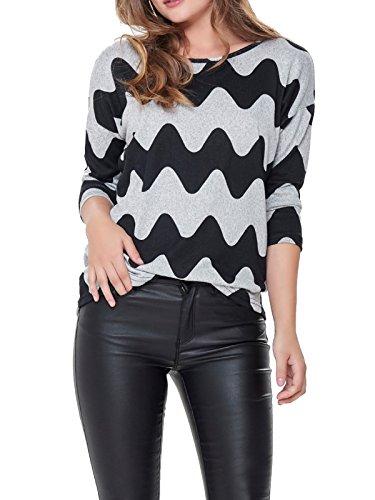ONLY NOS Damen Pullover Onlelcos 4/5 Aop Top Jrs Noos, Grau (Light Grey Melange Aop:Black Waves), 38 (Herstellergröße: M)