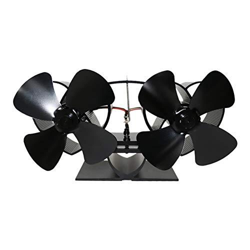 Doppelkopfventilator Stromloser Ventilator von XIANEUFUN - Kamin Ventilator stromlos - Ventilator für Holzöfen - Ofen Ventilator für optimale Verteilung der Luft (Doppelkopfventilator)