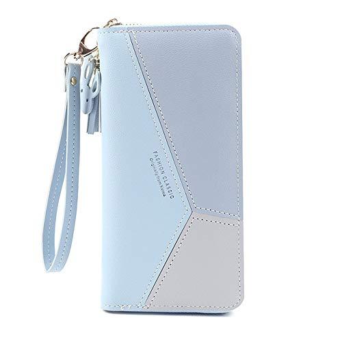 Geometric wallet ladies luxury leather zipper coin purse tassel design long wallet women money credit card holder clutch bag-Blue