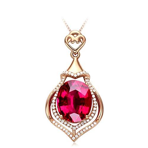 Daesar Collana Donna Oro Rosa 18Kt 4.91ct Goccia d'Acqua di Tormalina Rossa Ovale Collana Diamante Donna Collana Donna Ciondolocollane Bambina dell' Amicizia