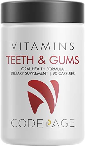 Codeage Teeth & Gums Vitamins + Oral Probiotics Supplement for Mouth - Plant-Based Calcium, Collagen, Magnesium, Vitamin C, D3, K2, Zinc – Oral Care & Dental Multivitamin Supplements - 90 Capsules