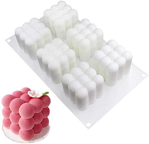 HIQE-FL Mousse Kuchenform Silikon | Kerzen Silikonform | Silikon-Form-3d-WüRfel-Form füR Handwerk, Duftkerze Soy, Gelee, Muffins, Pudding, Cake (A)