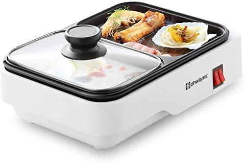 teppanyaki Grill, Mini Koekenpan met Gemakkelijk Schone, Multi-Functie Dubbele Pot Geïntegreerde Kookpot Elektrische Bakplaat