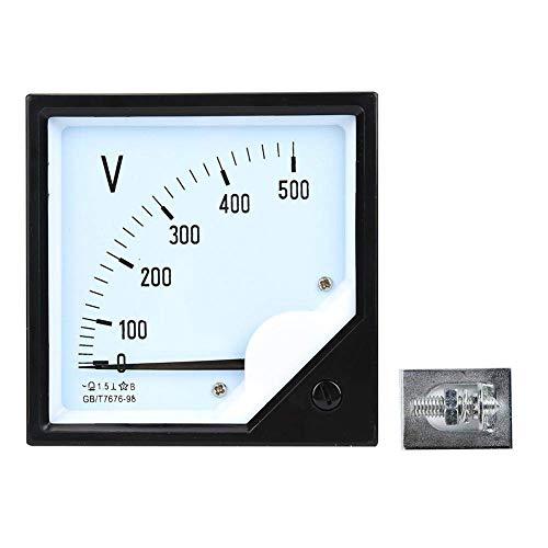 Fafeicy Voltímetro analógico AC 0-500V, Medidor de voltaje de panel cuadrado, para dispositivos de control electrónico