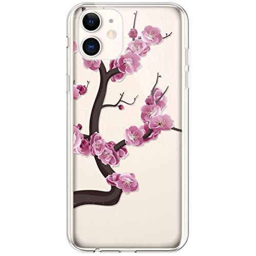 Kompatibel mit iPhone 11 Hülle,Transparente Silikon TPU Handyhülle Crystal Clear Durchsichtig Schutzhülle Blumen Bunt Muster Ultra-dünn Weiche Stoßfest Bumper Case Tasche,Pinke Blume