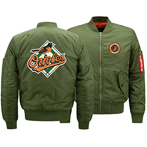 GMRZ MLB Herren Jacke, Mit Baltimore Orioles Logo Major League Baseball Team Sweatshirts Fans Jerseys Sweatjacke Mit Warm Winter Outdoor Ski-Jacket,A,L