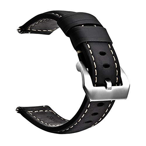Correa de Reloj de liberación rápida de Cuero Genuino con Hebilla de Acero Inoxidable Fácilmente Intercambiable Pulsera de Reloj de Repuesto para Hombres y Mujeres Tamaño 24 mm Negro