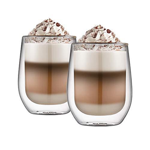 Dubbelwandige Latte-bril, Ehugos-set van 2 (300 ml) koffiekopjes Geïsoleerde thermoglasset voor koffie, thee, espresso, cappuccino, latte, bier