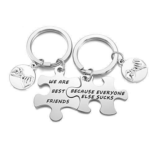 JSDDE 2 llaveros BFF con grabado de puzle colgante de acero inoxidable de la amistad, llavero, para el dedo pequeño