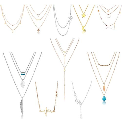 Blinst 10pcs Layered Necklace Pendant Moon Star Turquoise Feather Olive Leaf Heartbeat Coin Chain Girls Women Mother Jewelry Set