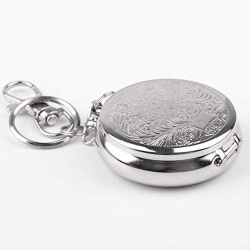N/U Edelstahl tragbare Reise-Aschenbecher mit Schlüsselbund, Silber bequem und praktisch