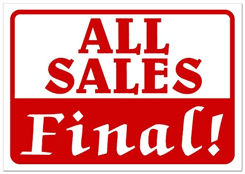 All Sales Final! Retail Business Shopping Message Sign - Durable Waterproof Plastic 7�x 11� Price Signs - Boost Sales with Bright Display Signs - Promote Business at Retail Stores