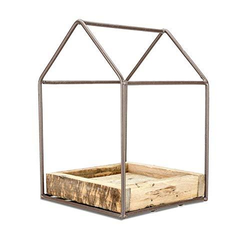 NaDeco Gewächshaus aus Metall mit Holztablett 19x19x4/29cm Pflanzen Haus Pflanzen Schale Pflanzhaus Deko Gewächshaus Pflanzenhaus Pflanzen Glashaus