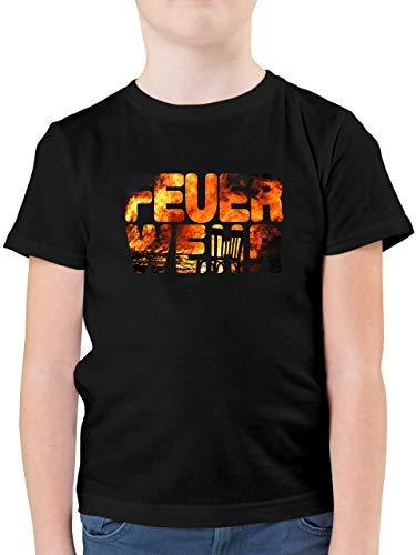 Feuerwehr Kind - Feuerwehr Flammen - 164 (14/15 Jahre) - Schwarz - Shirt Kinder Feuerwehr - F130K - Kinder Tshirts und T-Shirt für Jungen