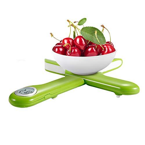 CAMRY Balance Digitale de Cuisine Numérique Pliant,Balance Electronique, Écran LCD Rétroéclairé, Fonction Tare, Auto-arrêt 5kg (Vert)