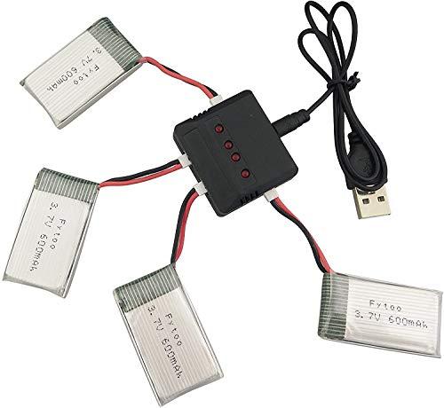 ZYGY 4pcs 3.7V 600mah Lithium Akku und 4...
