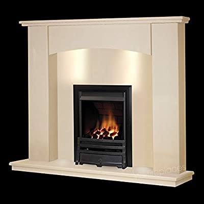 Cream Stone Marble Curved Modern Wall Surround Gas Fireplace Suite Black Inset Gas Fire with Spotlights