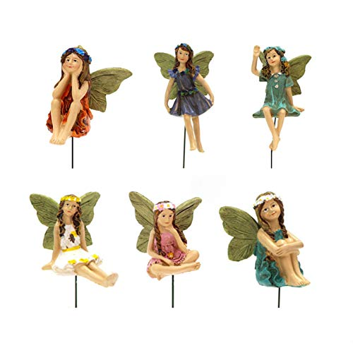 6 Stück Miniatur Feen Figuren Zubehör für Outdoor-Deko Mini Feen -Fairy Figuren Verschiedene Miniatur Blumen Garten Blumentopf Puppenhaus Dekoration