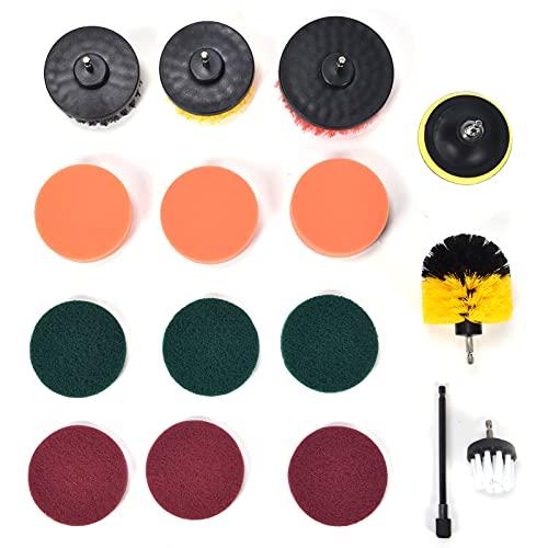 Fregadora eléctrica, 16 Uds, Juego de accesorios para cepillo de taladro, almohadillas para fregar, cepillo de limpieza de esponja para limpieza de paredes, eliminación de polvo de piso
