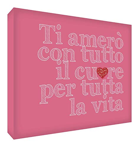 Top Shop Feel Good Art Impression sur Toile de Mur en Style Typographie Phrase Ti Amo, Couleur Vieux Rose 30 x 20 x 4 cm