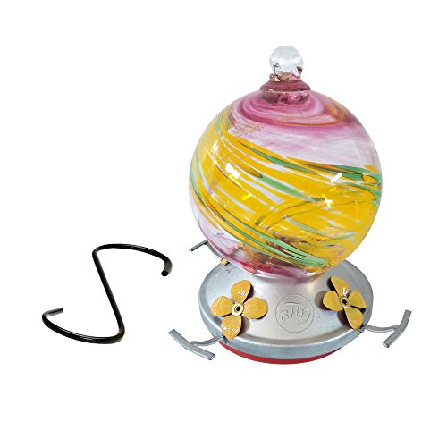 Best Home Products Hummingbird Feeder, Blown Glass, Summertime Swirl, 3 Cups