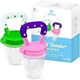 Baby Fruit Feeder Pacifier (2 Pack) - Fresh Food Feeder, Infant Fruit Teething Toy, Silicone Pouches...